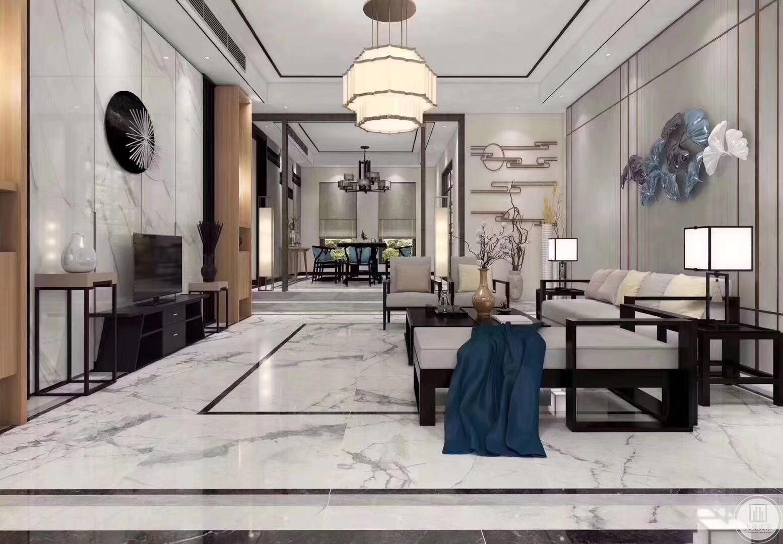 新中式风格的核心部分在客厅,也是整案成功与否的关键,此案线条简洁的沙发椅,铺上现代风格的沙发垫,使传统和现代完美融合,白瓷地板上若隐若现的水墨图案与墙面装修为一体,吊顶、门框对称协调、明亮简洁。