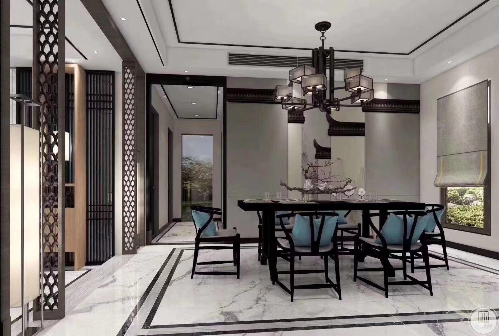 餐厅延续整案大气简洁的风格,利用镂空雕花木门,中国风墙绘,实木餐桌椅搭配时尚靠垫,营造一幅惬意的图画,墙上活灵活现的小鸟和欢快就餐的一家人融为一体。