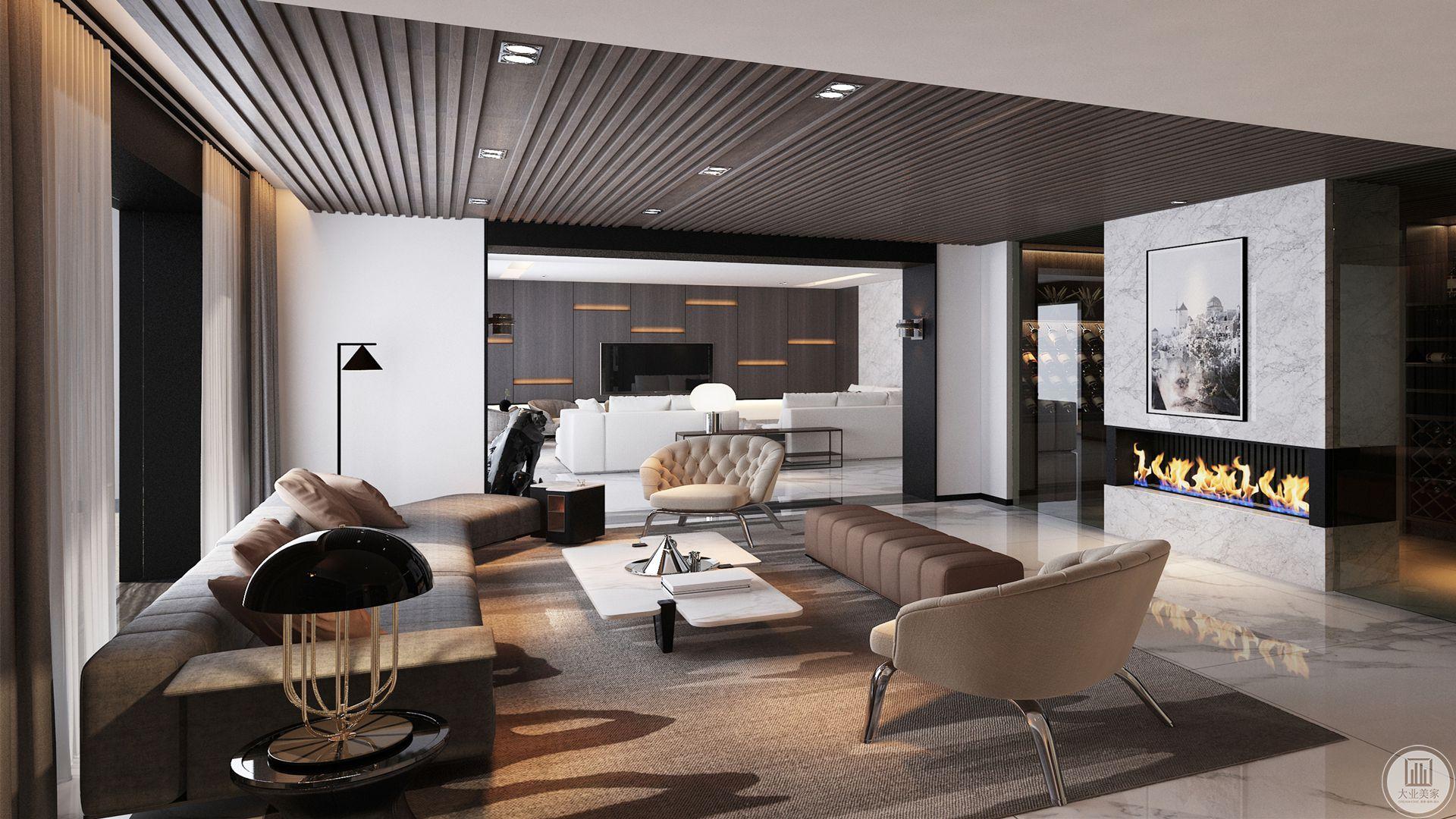 主客厅分为里外两部分,里面部分为影视区,用白色灯具点缀白色沙发,实木墙贴衬托得白色地砖高贵典雅,正面放置了电视剧,是比较放松的地方,是户主接待一些亲密一点的朋友的地方。