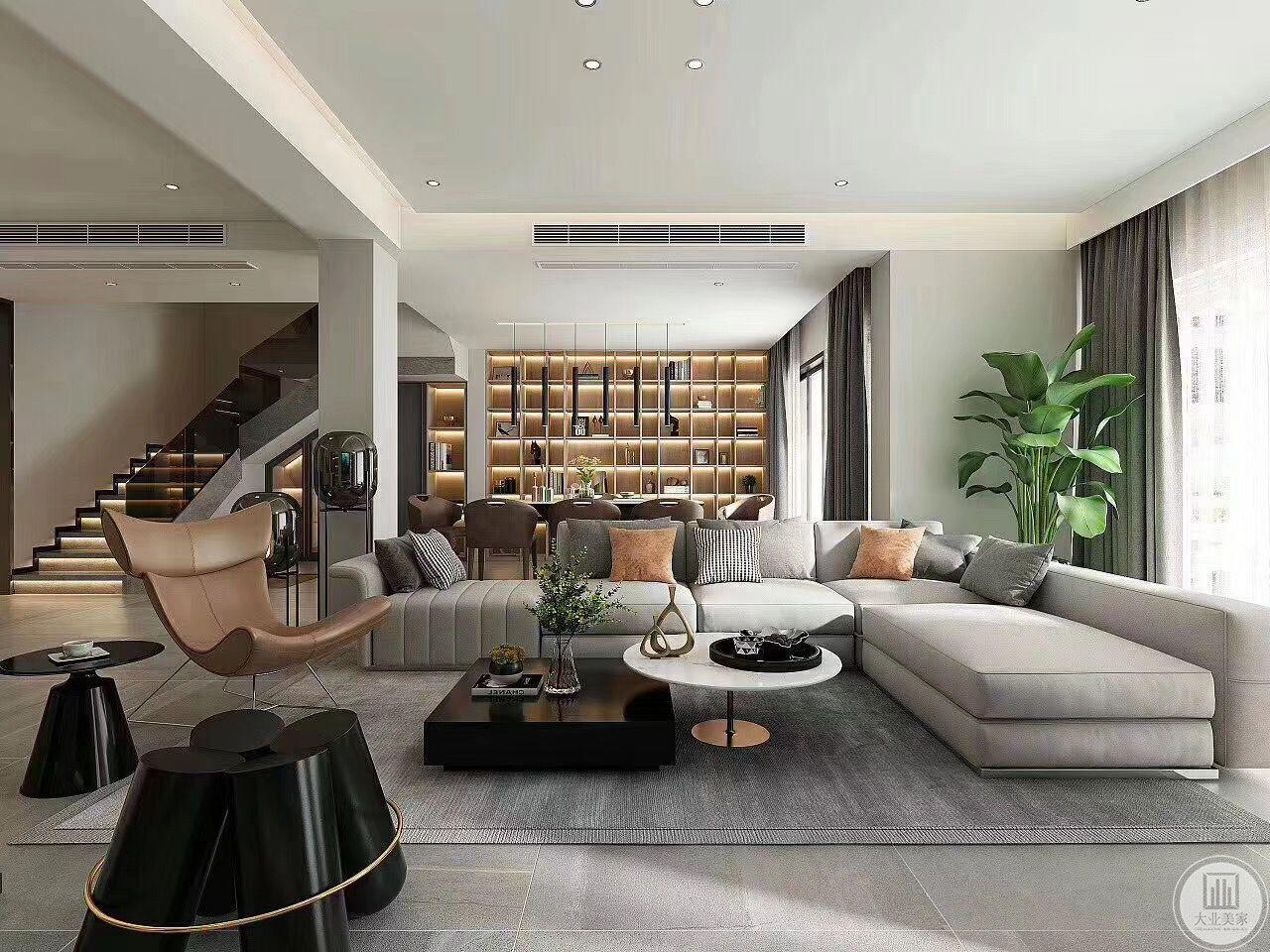 本案会客厅是男主人约谈客户的地方,整体感觉更加商务,设置了椅子,沙发,及异形凳子,以方便不同客人的喜好。