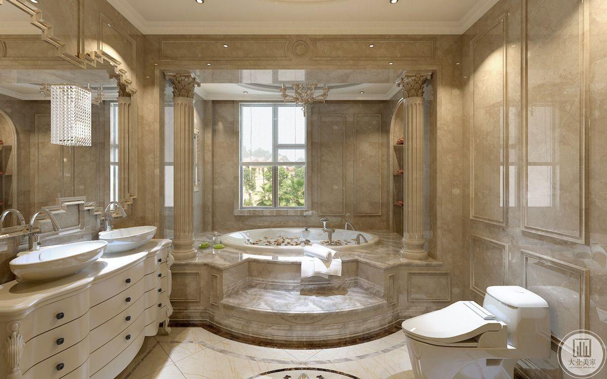 主卫的浴缸被设计成一个内置式的迷你泳池,大理石台阶配合着雕刻圆柱,整体呈现一个小型的空间,洗漱台上的异形镜子和小壁柜遥相呼应。