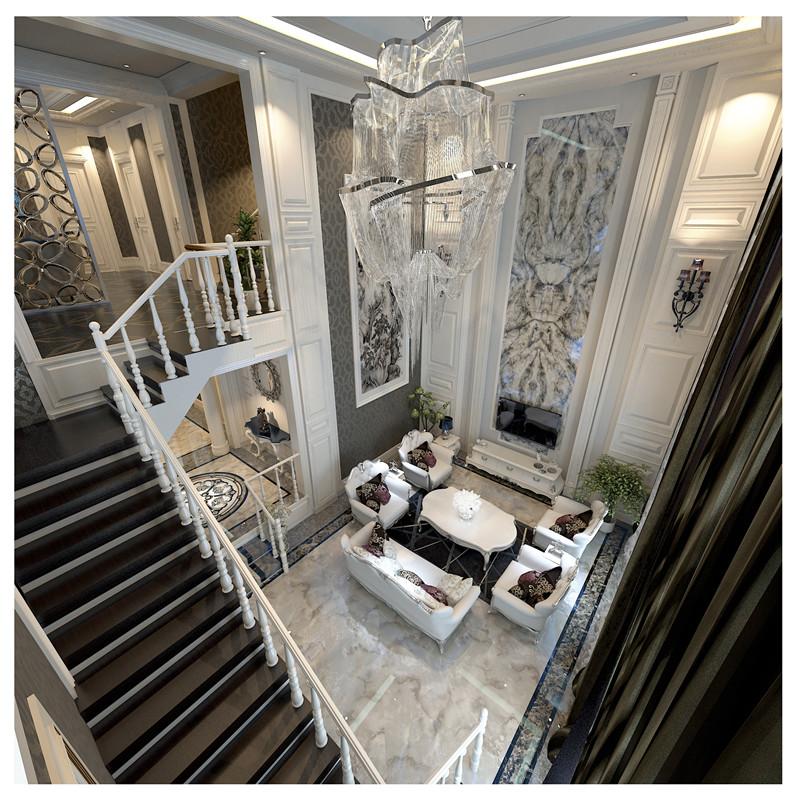 客厅位于中庭,大理石地板搭配白色沙发,中庭水晶灯造型独特,为整个中庭增添了不少色彩,墙壁上的挂画和护墙板色彩搭配适宜,壁灯复古,曲线完美,细节考究。