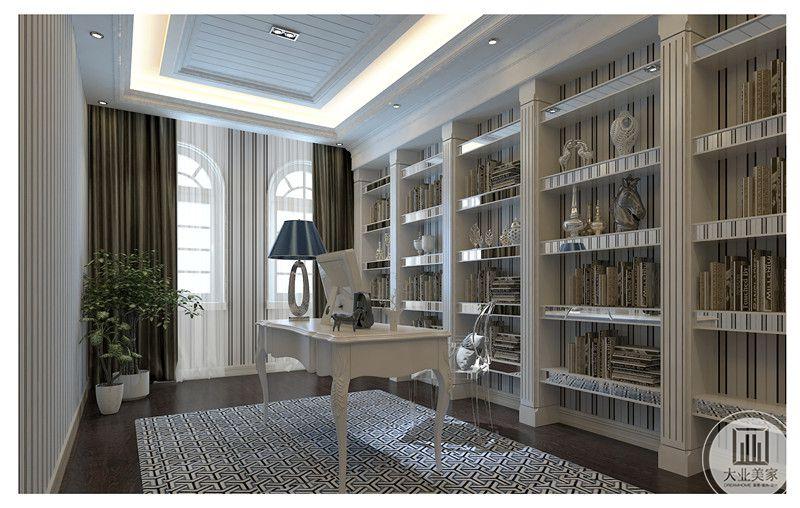 书房是户主私人办公的地方,因而设计师按照他的需求设置了一排开放性壁柜,可以放置户主的一些物品,壁柜结构采用罗马柱的造型,利用深色地板搭配格纹地毯,使其整体温馨舒适。