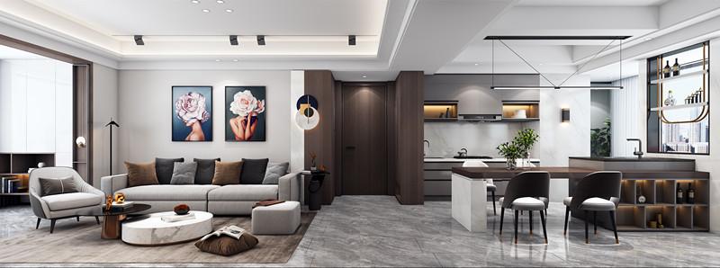本案影音室和餐厅为一体,这是家庭中比较放松的空间,可以随意坐在上面休憩,设计师在大理石地面铺放了棕色系列地毯,部分靠垫和地毯的色系一致,作为色彩的点缀和穿插作用。
