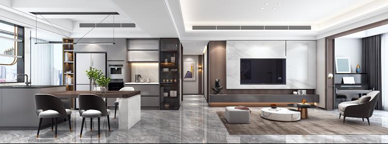 本案设计师最大化的运用了餐厅及厨房的空间,做了开放式厨房,并在水池的后半部做了一个开放式橱柜,以放置饮品,水池操作台和餐桌连接为一体,也可以作为吧台使用,因而餐厅的部分兼具了茶水吧和厨房的功能,但整体并不显得拥挤,反而清新大气,这是整案设计的点睛之笔。