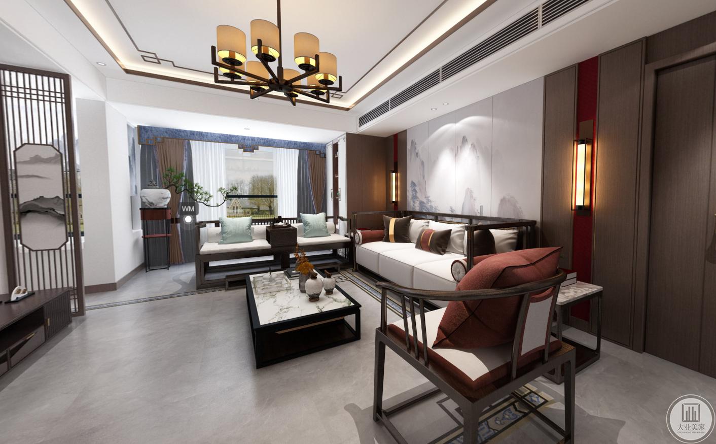 客厅采用盆景为整体增添韵味,沙发背景墙为一副浓淡相宜的水墨画,灯具和屏风采用中国传统元素,红色的沙发垫子为整体增添了一丝活力。